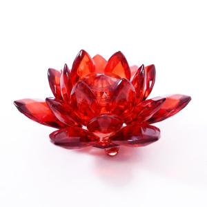 хрустальный Лотос красный, диаметр 80 мм