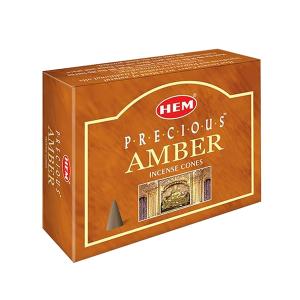 благовоние в форме конусов Драгоценный Амбер (Precious Amber HEM), 10 штук