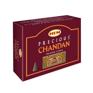 благовоние в форме конусов Драгоценный Чандан (Precious Chandan HEM), 10 штук