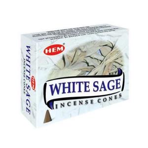 благовоние конусы Белый шалфей (White Sage HEM), 10 штук