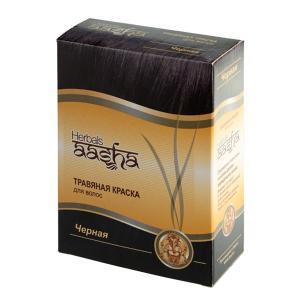 краска для волос на основе натуральной хны чёрная Aasha Herbals, 6 х 10 гр.