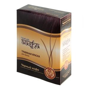 краска для волос на основе натуральной хны чёрный кофе Aasha Herbals, 6 х 10 гр.