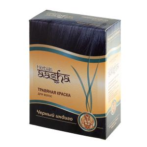 краска для волос на основе натуральной хны чёрный индиго Aasha Herbals, 6 х 10 гр.