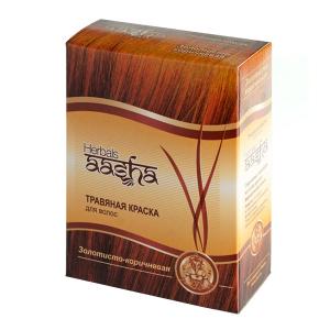 краска для волос на основе натуральной хны золотисто-коричневая Aasha Herbals, 6 х 10 гр.