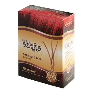 краска для волос на основе натуральной хны махагони Aasha Herbals, 6 х 10 гр.