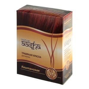краска для волос на основе натуральной хны каштановая Aasha Herbals, 6 х 10 гр.