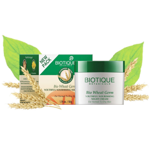 Крем для лица Биотик ночной питательный с зародышами пшеницы (Bio Wheat Germ Face & Body Cream Biotique), 50 гр.
