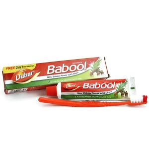 зубная паста Бабул Дабур (Dabur Babool) в комплекте с зубной щеткой, 80 гр.