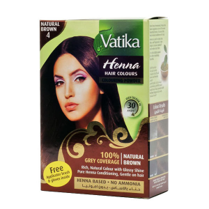 краска для волос на основе натуральной хны Dabur Vatika Naturals коричневая, 6 х 10 гр.
