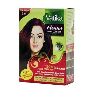 краска для волос на основе натуральной хны Dabur Vatika Naturals бордовая, 6 х 10 гр.
