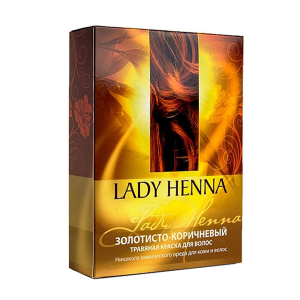 травяная краска для волос Lady Henna золотисто-коричневая, 2 х 50 гр.