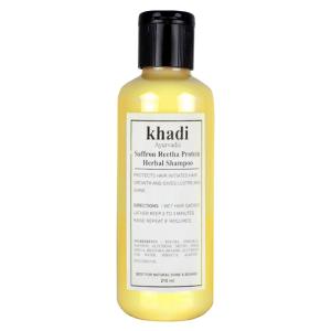 шампунь против выпадения волос Шафран и Ритха Кхади (Saffron Reetha Protein, Khadi), 210 мл.