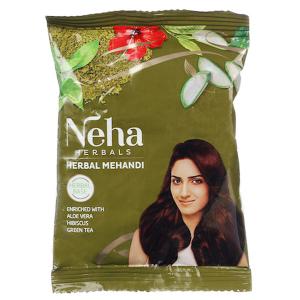 хна для укрепления волос Неха с Алоэ Вера, Гибискусом и Зелёным Чаем (Neha Henna), 20 гр.