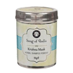 Сухой шампунь-кондиционер на основе мыльных бобов Шикаккай Кришна муск (Herbal Shampoo powder Songc of India), 50 гр.
