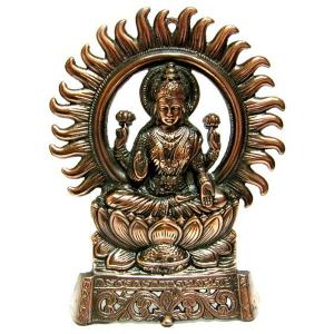 статуэтка Лакшми на троне, силумин 27 см