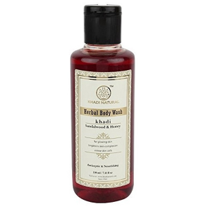 гель для душа Сандал и Мёд Кхади (Sandalwood & Honey herbal body wash Khadi), 210 мл.