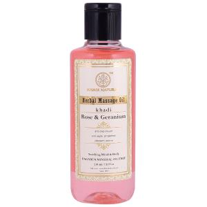 Массажное масло Роза и Герань Кхади (Rose & Geranium Herbal Massage Oil Khadi), 210 мл
