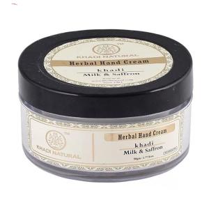 крем для рук Молоко и Шафран Кхади (Milk & Saffron Herbal Hand Cream, Khadi), 50 гр