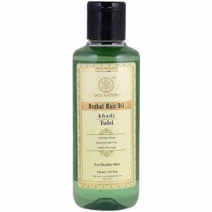 масло для волос Тулси Кхади (Tulsi Herbal Hair Oil, Khadi), 210 мл