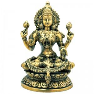 статуя Богиня Лакшми в лотосе, бронза 24 см