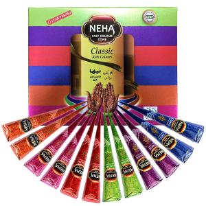 набор цветной хны для мехенди в конусая Neha, 12 штук