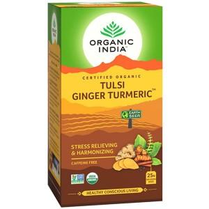 Чай органический из Тулси с Имбирем и Куркумой Organic India, 25 пакетиков