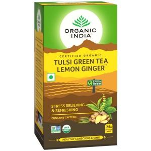 Чай органический из Тулси с Зелёным чаем, Лимоном и Имбирём Organic India, 25 пакетиков