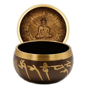 Поющая чаша литая для гармонизации чакр и медитации, сплав 7 металлов