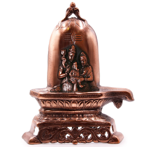 металлическое панно лингам Шива паривар, силумин 28 см