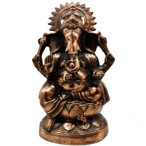 статуэтка Шри Ганеша с нимбом, силумин 60 см