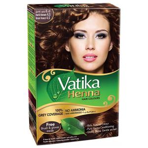хна для волос Дабур Ватика цвет Тёмно-коричневый (Dabur Vatika Dark Brown), 60 гр.