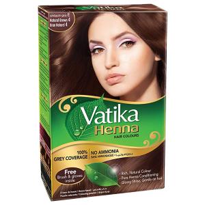 хна для волос Дабур Ватика цвет Натуральный Коричневый (Dabur Vatika Naturals Natural Brown), 60 гр.