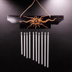 музыка ветра Солнце 11 трубочек металл, высота 24 см.