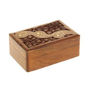 деревянная резная шкатулка Трилистник, 15х10 см