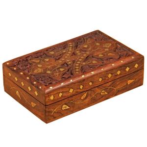 деревянная резная шкатулка с инкрустацией Дуэт, 20х13 см