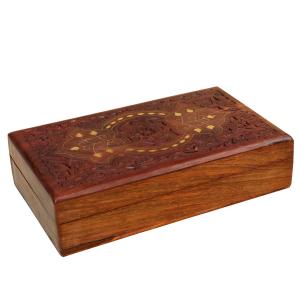 деревянная резная шкатулка с инкрустацией Эдем, 25х15 см