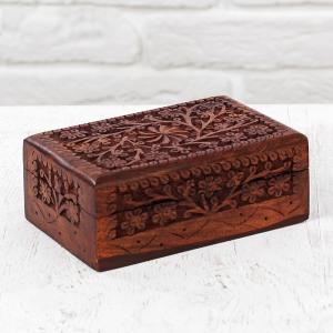 деревянная резная шкатулка Цветочные Узоры, 15х10 см