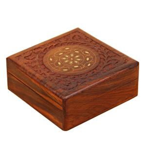 деревянная шкатулка Солнечный круг, 15х15 см