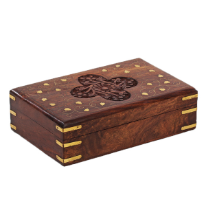 деревянная резная шкатулка с инкрустацией Крестоцвет, 20х13 см