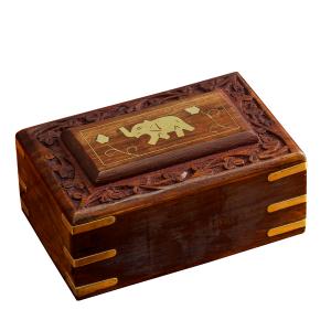 деревянная резная шкатулка Слон, 15х10 см