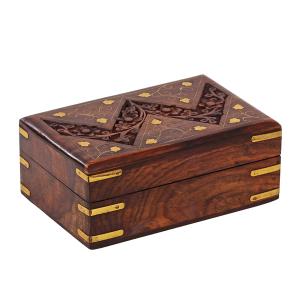 деревянная резная шкатулка с инкрустацией Лоза, 15х10 см